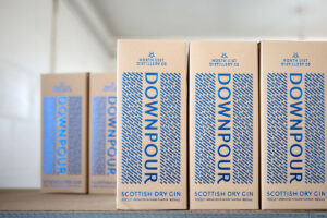Boxed bottles of Downpour Gin
